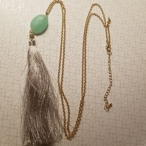 Gold w/Light Green Stone & Silver Thread Necklace